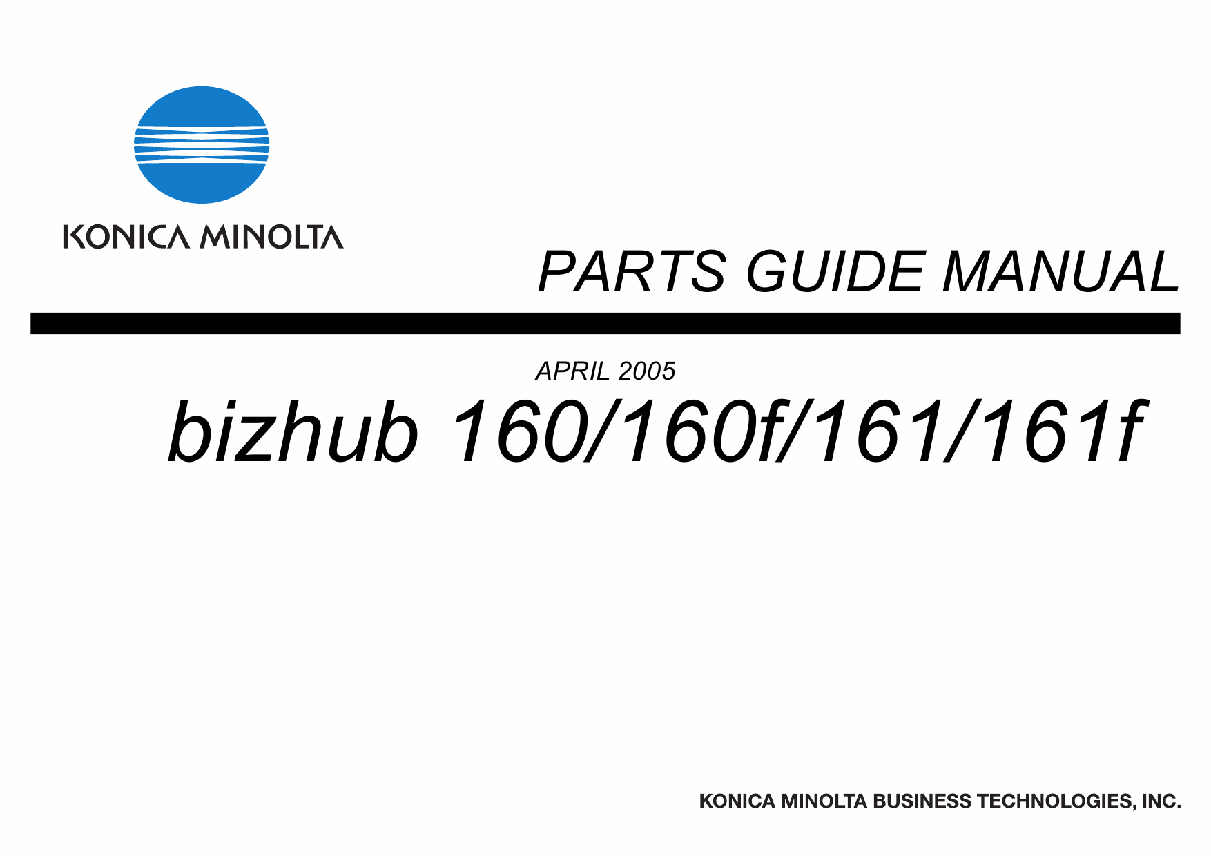 Konica-Minolta bizhub 160 160f 161 161f Parts Manual-1